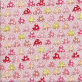 Mushrooms with Spots on Pale Pink Quilting Fabric