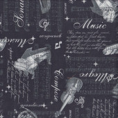 Musical Instruments Piano Harp Violin Music Notes Quilting Fabric