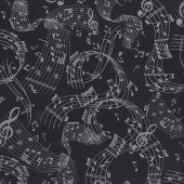 Music Notes on Black with Metallic Silver Musical Quilting Fabric