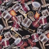 Musical Instruments Electric Guitars Drums on Black Music Quilt Fabric