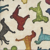 Must Love Colourful Dogs on Tan Pet Quilting Fabric