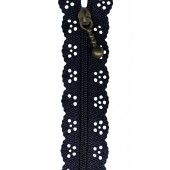 Navy Blue Lace Zip Zipper 20cm / 8 Inches