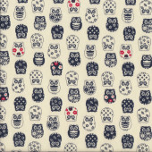 Japanese Navy Owls Asian Oriental Quilting Fabric Quilting Fabric