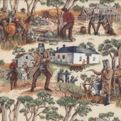 Ned Kelly Gang Glenrowan Shootout Australian Outlaw Quilting Fabric