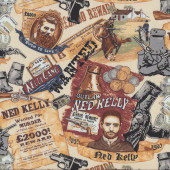 Ned Kelly Wanted For Murder Posters Australian Outlaw Quilt Fabric