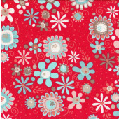 Daisies Flowers on Red Leaves Coral Nested Owls Quilt Fabric