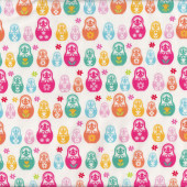Matryoshka Babushka Russian Nesting Dolls on White Girls Fabric