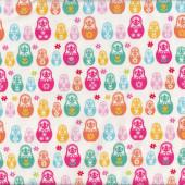 Matryoshka Babushka Russian Nesting Dolls on White Girls Fabric