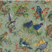 New Zealand Birds Kiwi Fantail Tui Pukeko Kea Wildlife Quilting Fabric