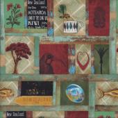 Aotearoa Antique Icons Paua Tiki Fantail Quilting Fabric