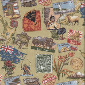 New Zealand Icons Fishing Camping Animals Plants Quilting Fabric