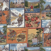 New Zealand Postcards Maori Fruit Animals Quilting Fabric
