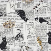 Cat Breeds on Newspaper Birman Abyssinian Quilting Fabric