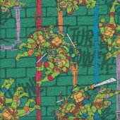 Teenage Mutant Ninja Turtles on Green Turtle Power Kids Quilting Fabric