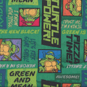 Teenage Mutant Ninja Turtles Green and Mean Kids Licensed Quilt Fabric
