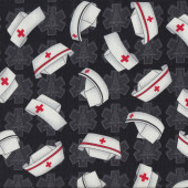 Nurses Caps Hats on Black Medical Hospital Quilting Fabric