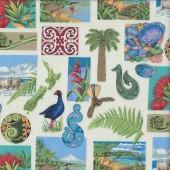 New Zealand Adventure Scenery Icons on Cream NZ Quilting Fabric