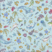 Ocean Whales Turtles Fish Dolphins Seals Sea on Blue Quilting Fabric