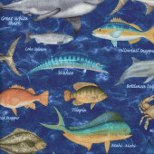 Fish on Blue Sharks Dolphins Crabs Lobster Quilting Fabric