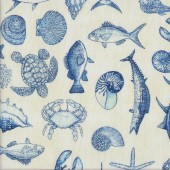 Sharks Dolphins Crabs Lobster Ocean Oasis Quilting Fabric