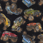 Jeeps on Black Mud Off Road Mens Boys Kids Sport Quilt Fabric