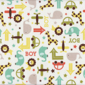 Lions Elephants Giraffes Whales oh Boy on White Kids Quilt Fabric