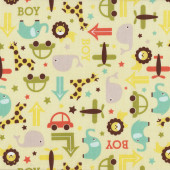 Lions Elephants Giraffes Whales oh Boy on Yellow Kids Quilt Fabric