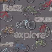 Bicycles on Grey Bikes Cycling On Two Wheels Sport Quilting Fabric