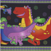 Colourful Dinosaurs Border Print One Bizillion B.C Quilting Fabric