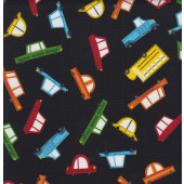 Cartoon Cars Black Quilting Fabric