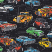 Classic Hot Rod Coupe Cars Pickup Trucks Boys Mens Quilting Fabric