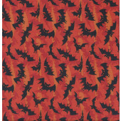 Black Bats Orange Quilting Fabric
