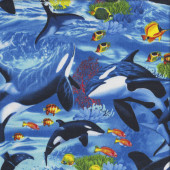 Orca Killer Whales Fish Ocean Coral Quilting Fabric