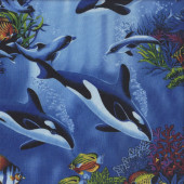 Orca Killer Whales Dolphins Fish Coral Ocean Wildlife Quilting Fabric