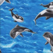 Orca Whales with Eyes Sea World Wildlife Kids Quilting Fabric