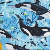 Orcas and Fish on Blue Killer Whale Ocean Quilting Fabric