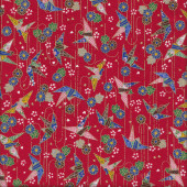 Japanese Origami Birds on Red Quilting Fabric