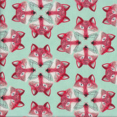 Red Foxes on Aqua Out Foxed Quilting Fabric
