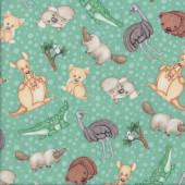 Outback Australian Baby Animals Emu Koala Wombat Quilt Fabric
