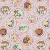 Outback Australian Baby Animals Emu Koala Wombat in Circles on Pink Quilt Fabric