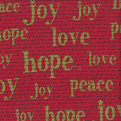 Christmas Words on Red Hope Joy Peace Overnight Delivery Quilting Fabric