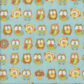 Cute Owls Mushrooms Quilting Fabric