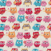 Owls on Cream Tea Party Riley Blake Jersey Knit Fabric