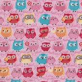 Owls on Pink Tea Party Riley Blake Jersey Knit Fabric