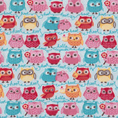 Owls on Blue Tea Party Riley Blake Jersey Knit Fabric