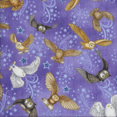 Owls on Purple Stars Magic Spellbound Quilting Fabric
