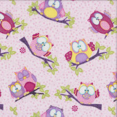 Cute Owls Branches on Pink Whoo Me Girls Quilting Fabric
