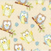 Blue Green Owls on Beige You Whoo Mushrooms Quilting Fabric