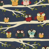 Night Owl Club on Blue Tree Branches Bird Quilt Fabric