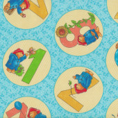 Paddington Bear Numbers in Circles Kids Licensed Quilting Fabric